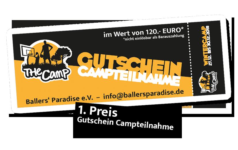 1. Preis: Gutschein Campteilnahme im Wert von 120 Euro